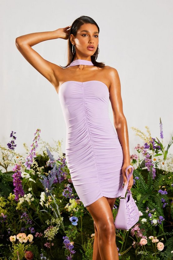 ruched high neck bodycon dress lilac 2